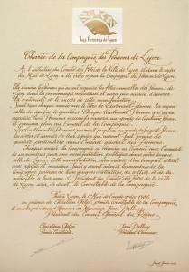 Charte de la compagnie des Pennons de Lyon